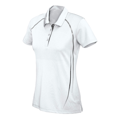 Womens Cyber Polo - Colours White / Silver