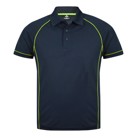 Image of Mens Endeavour Polo - Colours Navy / Fluro Green