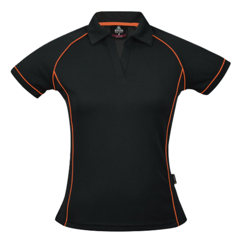 Womens Endeavour Polo - Colours Black / Fluro Orange