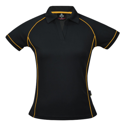 Image of Womens Endeavour Polo, Colours: Black / Gold