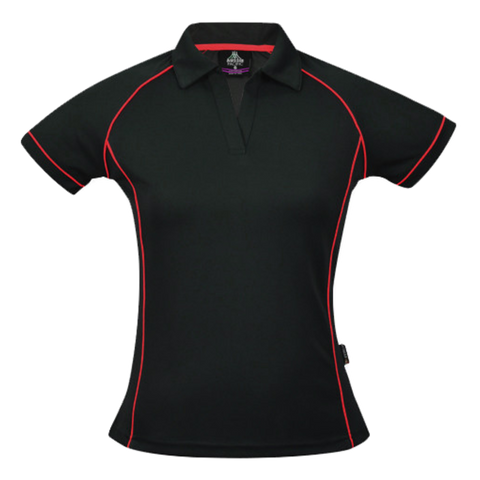 Womens Endeavour Polo, Colours: Black / Red