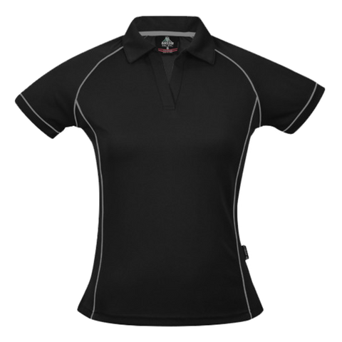 Image of Womens Endeavour Polo, Colours: Black / Silver