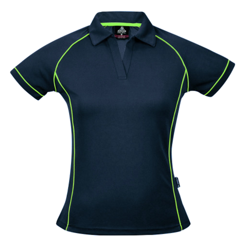 Image of Womens Endeavour Polo, Colours: Navy / Fluro Green