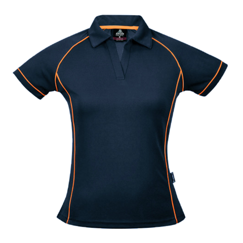 Womens Endeavour Polo - Colours Navy / Fluro Orange