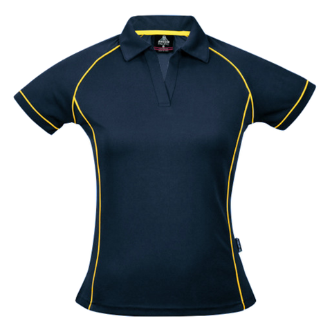 Womens Endeavour Polo, Colours: Navy / Gold