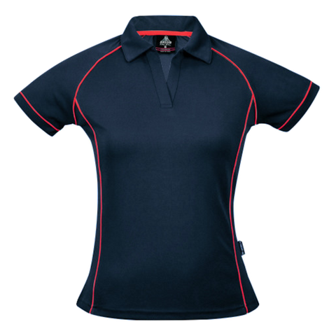 Womens Endeavour Polo, Colours: Navy / Red