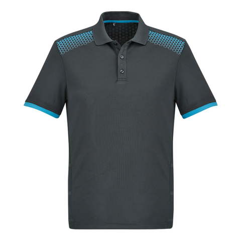 Image of Mens Galaxy Polo, Colours: Grey / Cyan