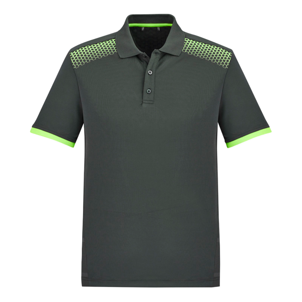 Mens Galaxy Polo, Colours: Grey / Fl Lime