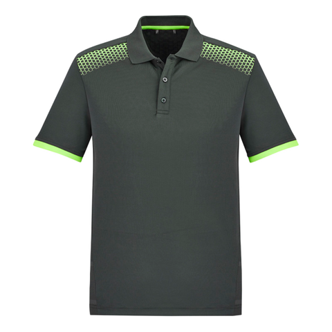 Image of Mens Galaxy Polo, Colours: Grey / Fl Lime