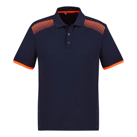 Image of Mens Galaxy Polo, Colours: Navy / Fl Orange