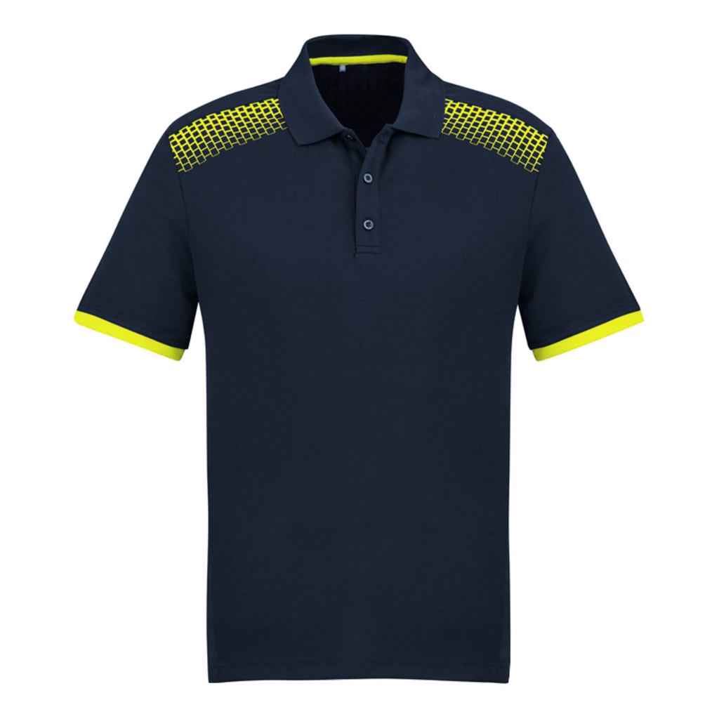 Mens Galaxy Polo, Colours: Navy / Fl Yellow