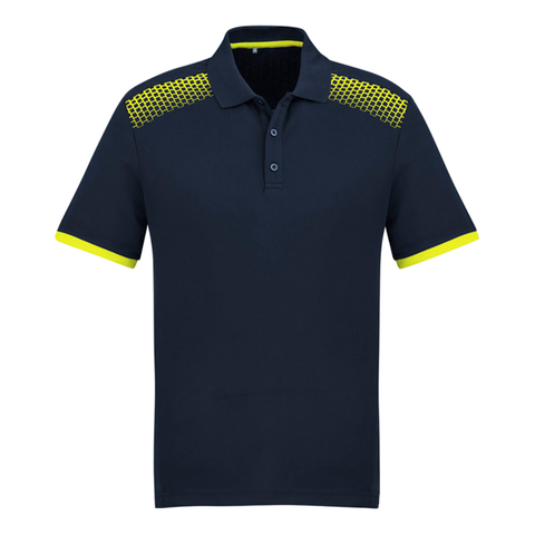 Image of Mens Galaxy Polo, Colours: Navy / Fl Yellow