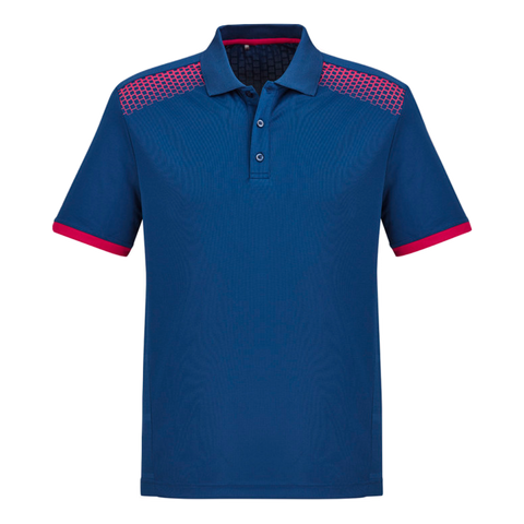 Image of Mens Galaxy Polo, Colours: Steel Blue / Magenta