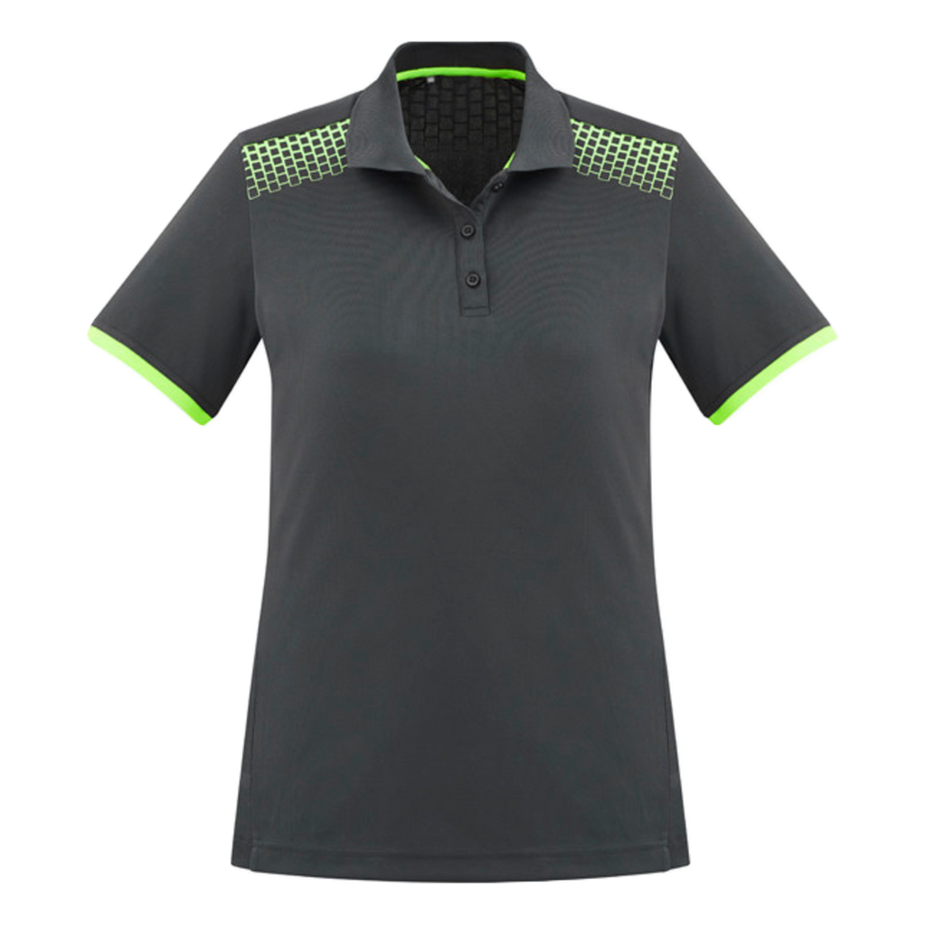 Womens Galaxy Polo, Colours: Grey / Fl Lime
