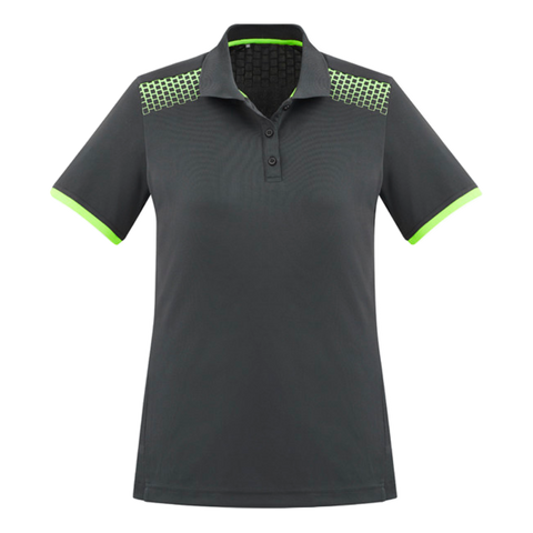 Image of Womens Galaxy Polo, Colours: Grey / Fl Lime