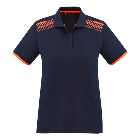 Image of Womens Galaxy Polo, Colours: Navy / Fl Orange
