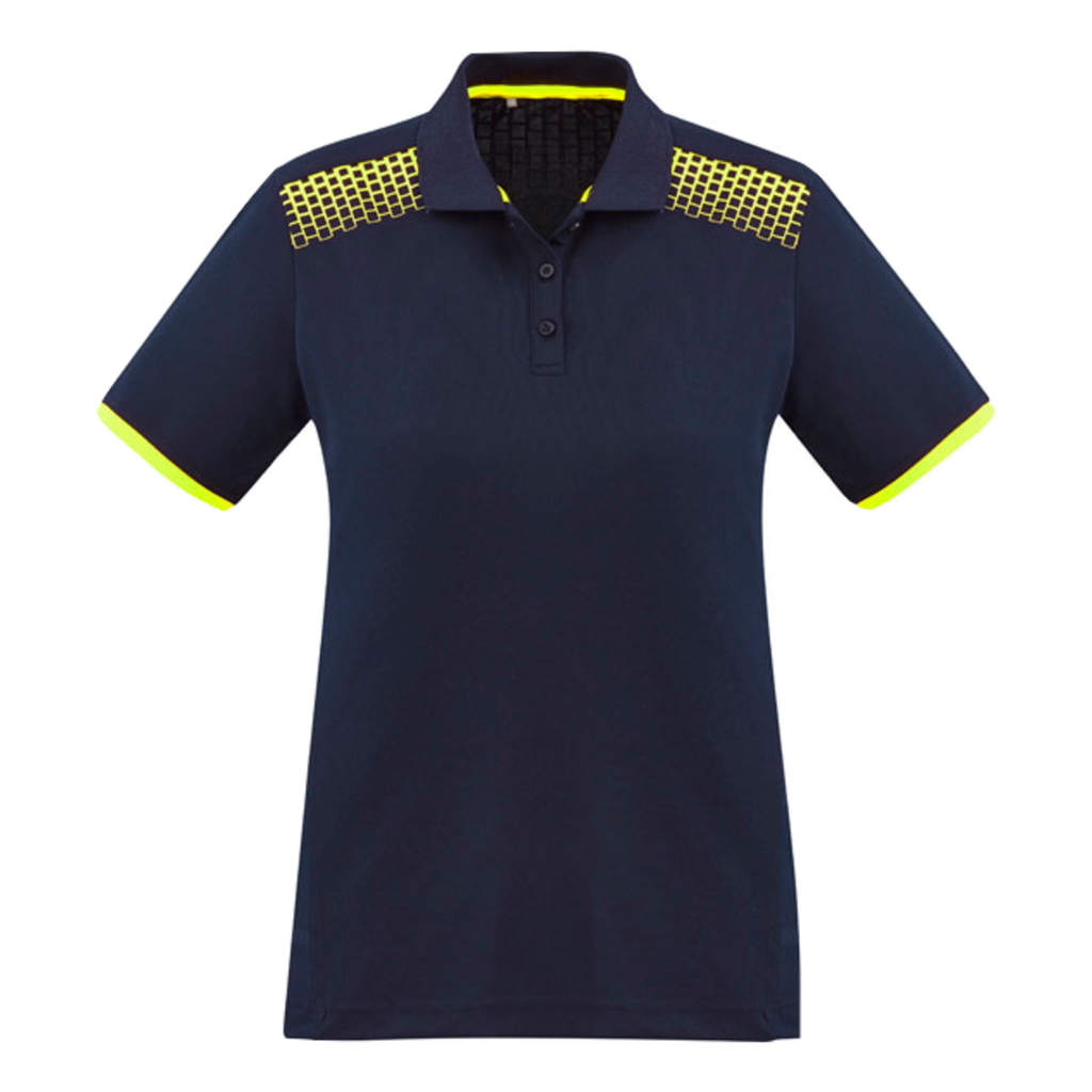 Womens Galaxy Polo, Colours: Navy / Fl Yellow