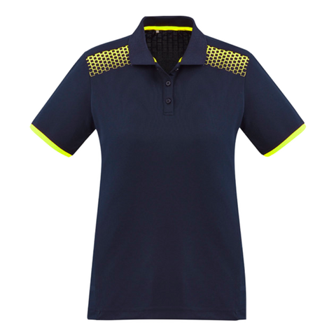 Image of Womens Galaxy Polo, Colours: Navy / Fl Yellow