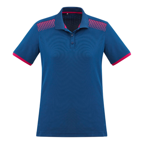 Image of Womens Galaxy Polo, Colours: Steel Blue / Magenta