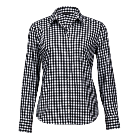 Womens Hartley Check Shirt, Colours: Black / White
