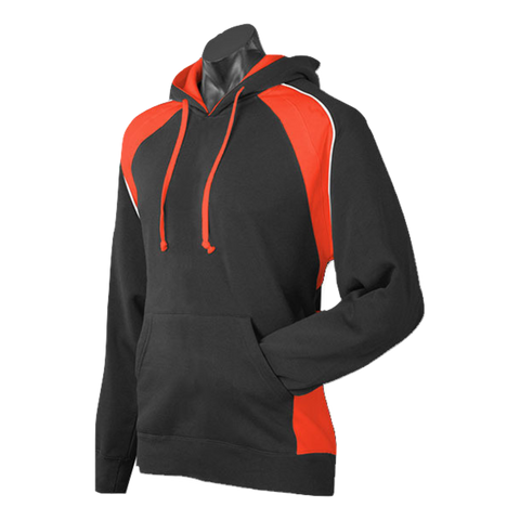 Image of Mens Huxley Hoodie - Colours Black / Orange / White