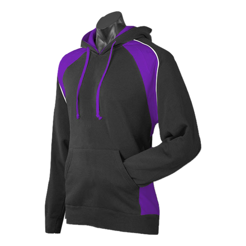 Image of Mens Huxley Hoodie, Colours: Black / Purple / White