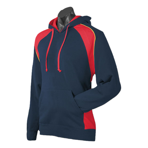 Image of Mens Huxley Hoodie - Colours Navy / Red / Gold