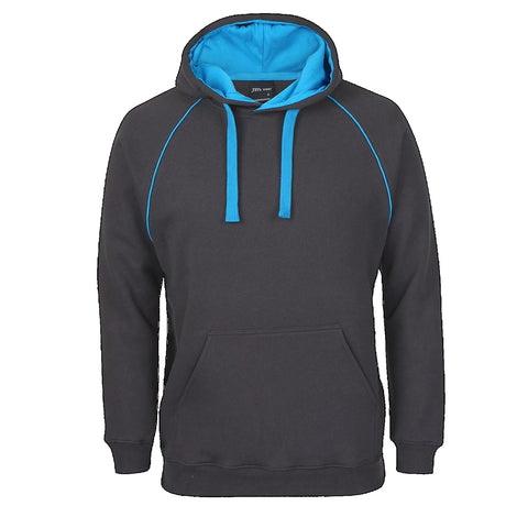 JBs Adult Contrast Fleecy Hoodie, Colour: Gunmetal / Aqua