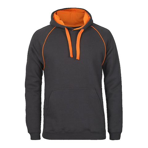 JBs Adult Contrast Fleecy Hoodie, Colour: Gunmetal / Orange