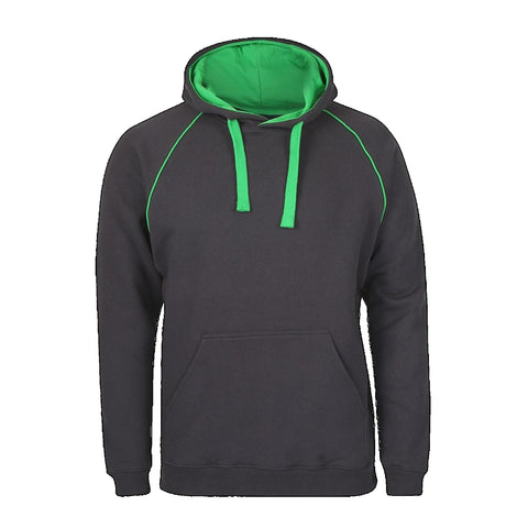 JBs Adult Contrast Fleecy Hoodie, Colour: Gunmetal / Pea Green