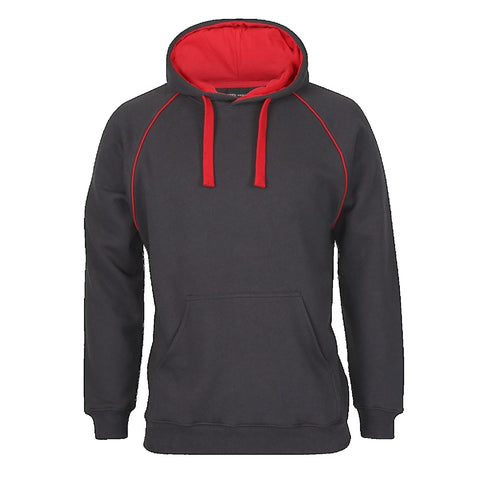 JBs Adult Contrast Fleecy Hoodie, Colour: Gunmetal / Red