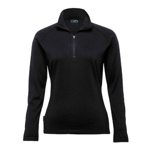 Womens Merino Zip Pullover, Colour: Black