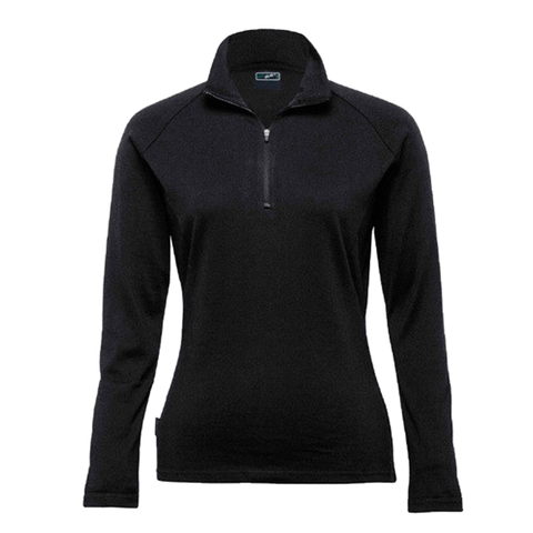 Image of Womens Merino Zip Pullover - Colour Black
