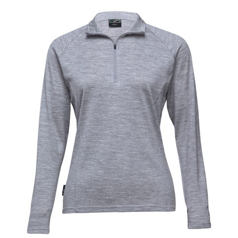 Womens Merino Zip Pullover, Colour: Grey Marle