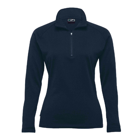 Image of Womens Merino Zip Pullover - Colour Navy