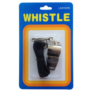 Metal Whistle - Size Medium (Single with Lanyard, Blister Pack)