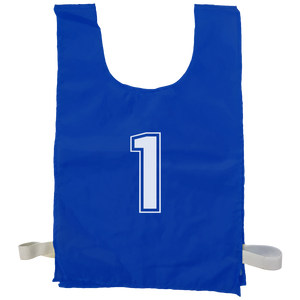 Numbered Sports Bibs - 10 Set - Size XL (56 x 38 cm) - Colour Blue
