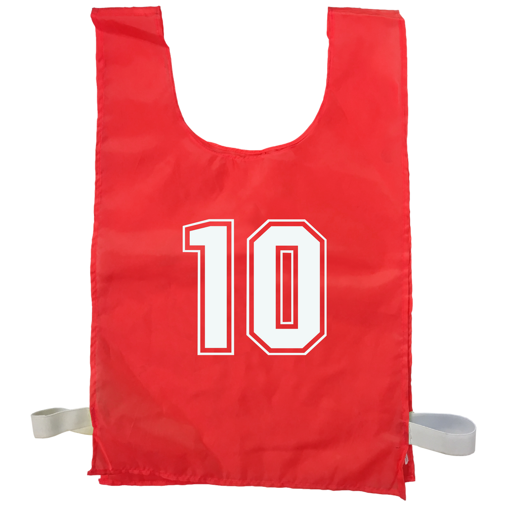 Numbered Sports Bibs - 10 Set - Size XL (56 x 38 cm) - Colour Red