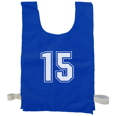 Numbered Sports Bibs - 15 Set - Size XL (56 x 38 cm) - Colour Blue
