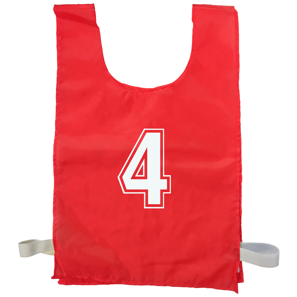 Numbered Sports Bibs - 15 Set, Size: XL (56 x 38 cm), Colour: Red
