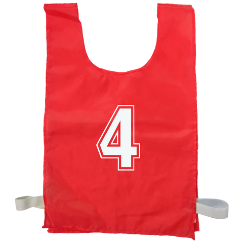 Numbered Sports Bibs - 15 Set - Size XL (56 x 38 cm) - Colour Red