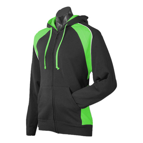 Image of Mens Panorama Zip Hoodie, Colours: Black / Green / White