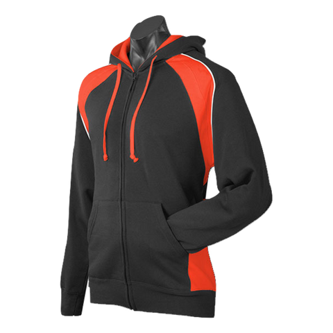 Mens Panorama Zip Hoodie, Colours: Black / Elec Orange / White