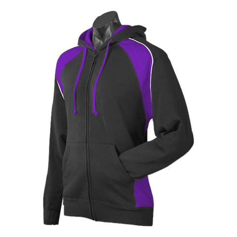 Image of Mens Panorama Zip Hoodie, Colours: Black / Purple / White