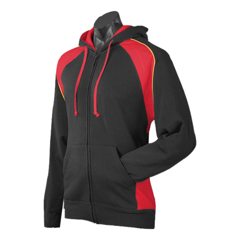 Image of Mens Panorama Zip Hoodie, Colours: Black / Red / Gold
