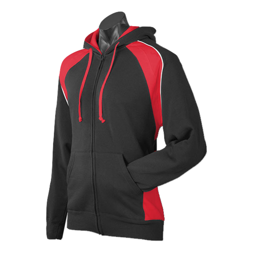 Mens Panorama Zip Hoodie, Colours: Black / Red / White