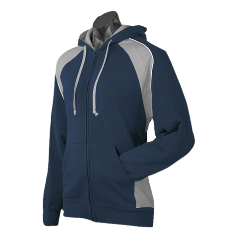 Image of Mens Panorama Zip Hoodie, Colours: Navy / Ashe / White