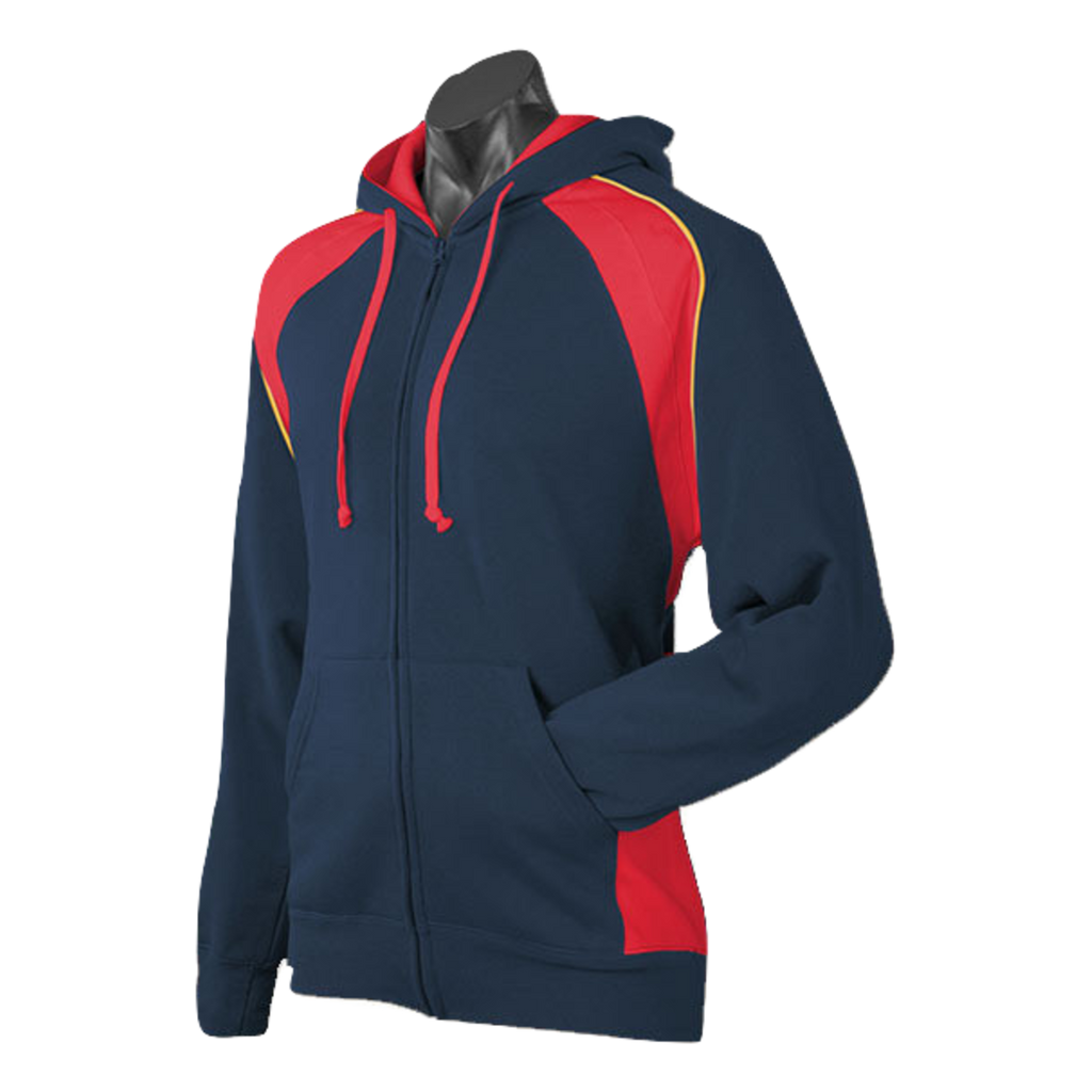 Mens Panorama Zip Hoodie, Colours: Navy / Red / Gold