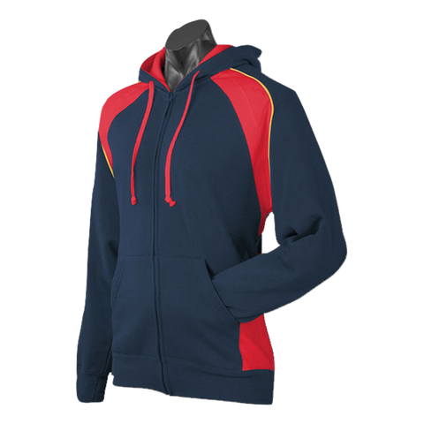 Image of Mens Panorama Zip Hoodie - Colours Navy / Red / Gold