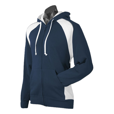 Image of Mens Panorama Zip Hoodie, Colours: Navy / White / Ashe